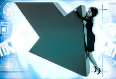 3d woman try to hold falling arrow graph illustration Royalty Free Stock Photos