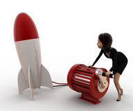 3d woman try to run rocket using generator concept Royalty Free Stock Photo