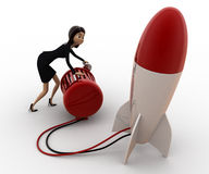 3d woman try to run rocket using generator concept Stock Image