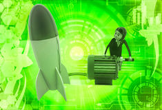 3d woman try to run rocket using generator illustration Royalty Free Stock Photos
