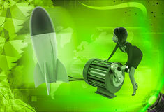 3d woman try to run rocket using generator illustration Stock Photos
