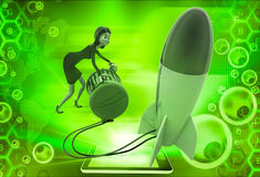 3d woman try to run rocket using generator illustration Stock Photo