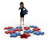 3d woman try to solve jigjaw puzzle concept Stock Images