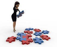 3d woman try to solve jigjaw puzzle concept Royalty Free Stock Images