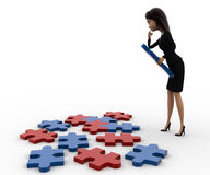 3d woman try to solve jigjaw puzzle concept Stock Photography
