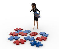 3d woman try to solve jigjaw puzzle concept Royalty Free Stock Image