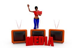 3d woman tv media concept Stock Photos