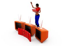 3d woman tv media concept Royalty Free Stock Photo
