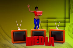 3d woman tv media illustration Royalty Free Stock Image