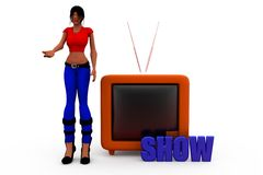 3d woman tv show concept Royalty Free Stock Image