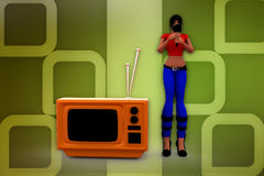 3d woman tv sing illustration Stock Photos