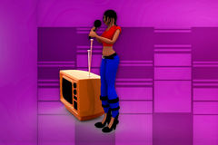 3d woman tv sing illustration Stock Photography