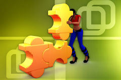 3d woman two path illustration Stock Photos