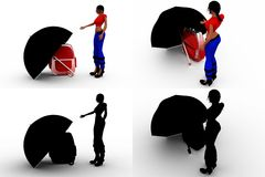 3d woman umbrella bag concept collections with alpha and shadow channel Stock Image