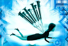 3d woman under many injection illustration Stock Photo
