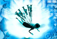 3d woman under many injection illustration Stock Image