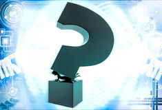 3d woman under pressure of big question mark illustration Stock Image