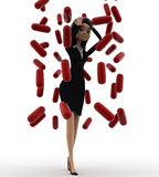 3d woman under rain of red germs concept Royalty Free Stock Photos