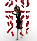 3d woman under rain of red germs concept Stock Photography