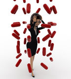 3d woman under rain of red germs concept Royalty Free Stock Photography