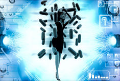 3d woman under rain of red germs illustration Royalty Free Stock Photo