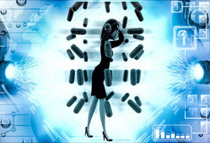 3d woman under rain of red germs illustration Stock Photo