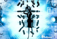 3d woman under rain of red germs illustration Royalty Free Stock Images