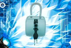 3d woman unlock lock using key illustration Stock Photos
