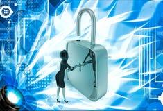 3d woman unlock lock using key illustration Royalty Free Stock Images