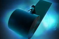 3d woman unrolling carpet hologram Royalty Free Stock Image