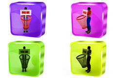 3d woman use me dustbin concept Stock Photos