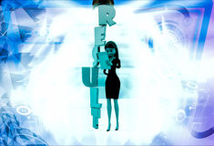 3d woman with vertical result text illustration Stock Images