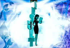 3d woman with vertical result text illustration Stock Photo