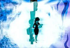 3d woman with vertical result text illustration Royalty Free Stock Images