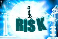 3d woman walk on risk text illustration Royalty Free Stock Photo