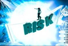 3d woman walk on risk text illustration Stock Photo