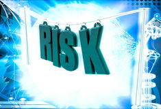 3d woman walk on risk text illustration Stock Photos