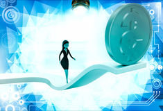 3d woman walking on arrow with dollar illustration Royalty Free Stock Photo
