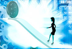 3d woman walking on arrow with dollar illustration Stock Image