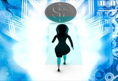 3d woman walking on arrow with dollar illustration Royalty Free Stock Images