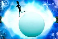3d woman walking on big abstract globe illustration Stock Photo