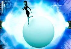 3d woman walking on big abstract globe illustration Stock Photos
