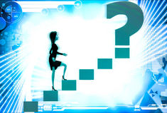 3d woman walking on stairs toward golden question mark illustration Royalty Free Stock Photo
