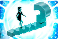 3d woman walking on stairs toward golden question mark illustration Royalty Free Stock Image
