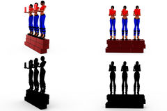 3d woman wall concept Collections With Alpha And Shadow Channel Royalty Free Stock Image