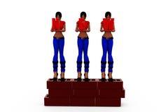 3d woman wall concept Stock Photos