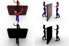 3d woman wall tallk concept collections with alpha and shadow channel Royalty Free Stock Photos