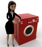 3d woman with washing machine concept Royalty Free Stock Image