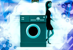 3d woman with washing machine illustration Stock Image