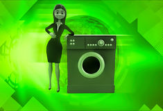 3d woman with washing machine illustration Stock Images